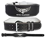 Gym Maniac Weight Lifting Waist Gym Belt | Adjustable Size, 2 Prong Buckle, Comfy Suede, Reinforced Stitching | Support Your Back & Alleviate Pains (Silver, Large)