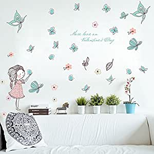 Wallpark dibujos animados lindo ni a liberando mariposa for Pegatinas decorativas para bebes