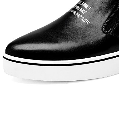 Womens Shoes Casual Flatform Toe Black Round SDC04830 Loafers Leather AdeeSu ZqwadxPP