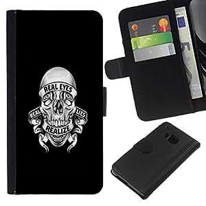 All Phone Most Case / Oferta Especial Cáscara Funda de cuero Monedero Cubierta de proteccion Caso / Wallet Case for HTC One M7 // REALIZE LIES SKULL