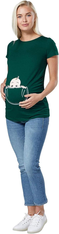 Para Mujer Camiseta premam/á T-Shirt estampado beb/é en bolsillo Happy Mama 501p
