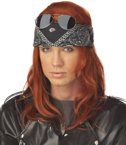 California Costumes Men's Hollywood Rocker Wig,Auburn,One Size (80s Male)