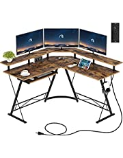 """Rolanstar Computer Desk L-Shaped with Power Outlet and USB Port, 54"""" x 54"""" Corner Gaming Desk with Monitor Stand and Keyboard Tray, Home Office Desk with Hook"""