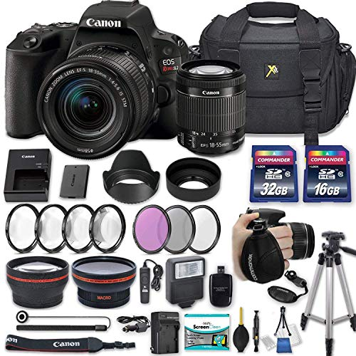 Canon EOS Rebel SL2 DSLR Camera with EF-S 18-55mm f/4-5.6 is STM Lens + 2 Memory Cards + 2 Auxiliary Lenses + HD Filters + 50