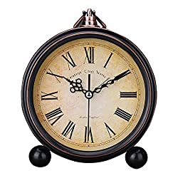 Gusnilo Vintage Silent Desk Alarm Clock Non TiUsany cking Quartz Movement Battery Operated , HD Glass Lens, Easy to Read