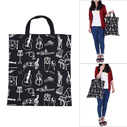 ammoon Cartoon Musik Instrument Muster Waschbar Baumwollstoff Handtasche Musik Taschen Schulter Lebensmittelgeschäft -Einkaufstasche für Studenten Mädchen Schwarz