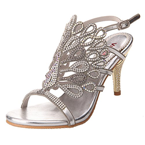 VELCANS Womens Handmade Studded Rhinestone Peacock Shaped High Heels Prom and Wedding Special Occassions Sandals (11 B(M) US, Silver)