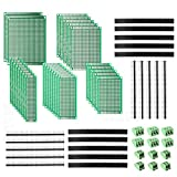 DEYUE 60 Pcs PCB perforated printed circuits boards Kit   28 Double-Sided Prototyping PCBs Circuit Boards   20 Female/Male Header Connector Pin   12 PCB Terminal Blocks and A Happy DIY