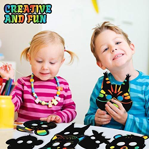 Koogel 30pcs Scratch Art for Kids,12 Kinds Rainbow Scratch Art Animal Masks Rainbow Magic Scratch Paper Scratch Art Paper for Childrens Painting Art Creation Painting Teaching