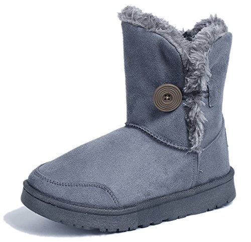 AgeeMi Shoes Women Closed Toe Pull On Low Top Suede Snow Boots With Buckle Gray