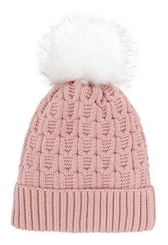 Arctic Paw Sherpa Lined Knit Beanie with Faux Fur Pompom,Pink ()