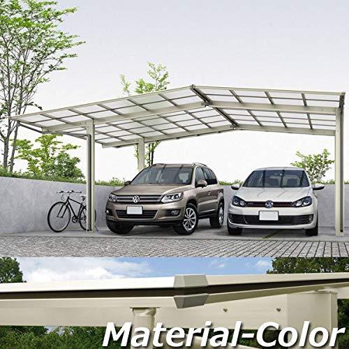 YKKAP エフルージュ プラス エフルージュグラン合掌セット ハイルーフ柱(H23) M57-093030H ポリカーボネート屋根 本体:プラチナステン JCS-X 『アルミカーポート 2台用』 側枠中帯:木調カラー ショコラウォールナット(Z36)  本体カラー:ショコラウォールナット(Z36) B07D7PB42N