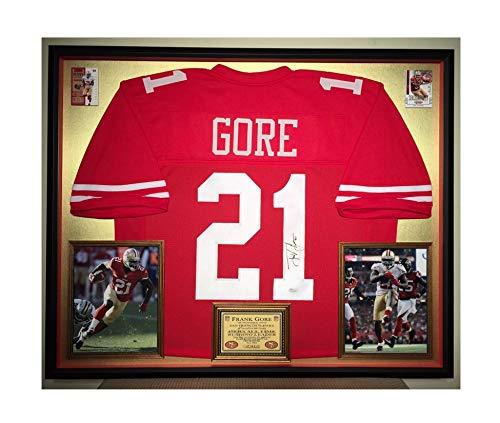 Premium Framed Frank Gore Autographed/Signed San Francisco 49ers Jersey - JSA COA ()