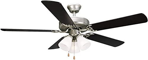 Design House 153957 Downrod Mount, 5 Black Light Maple Blades Ceiling fan with 50 watts light, Satin Nickel