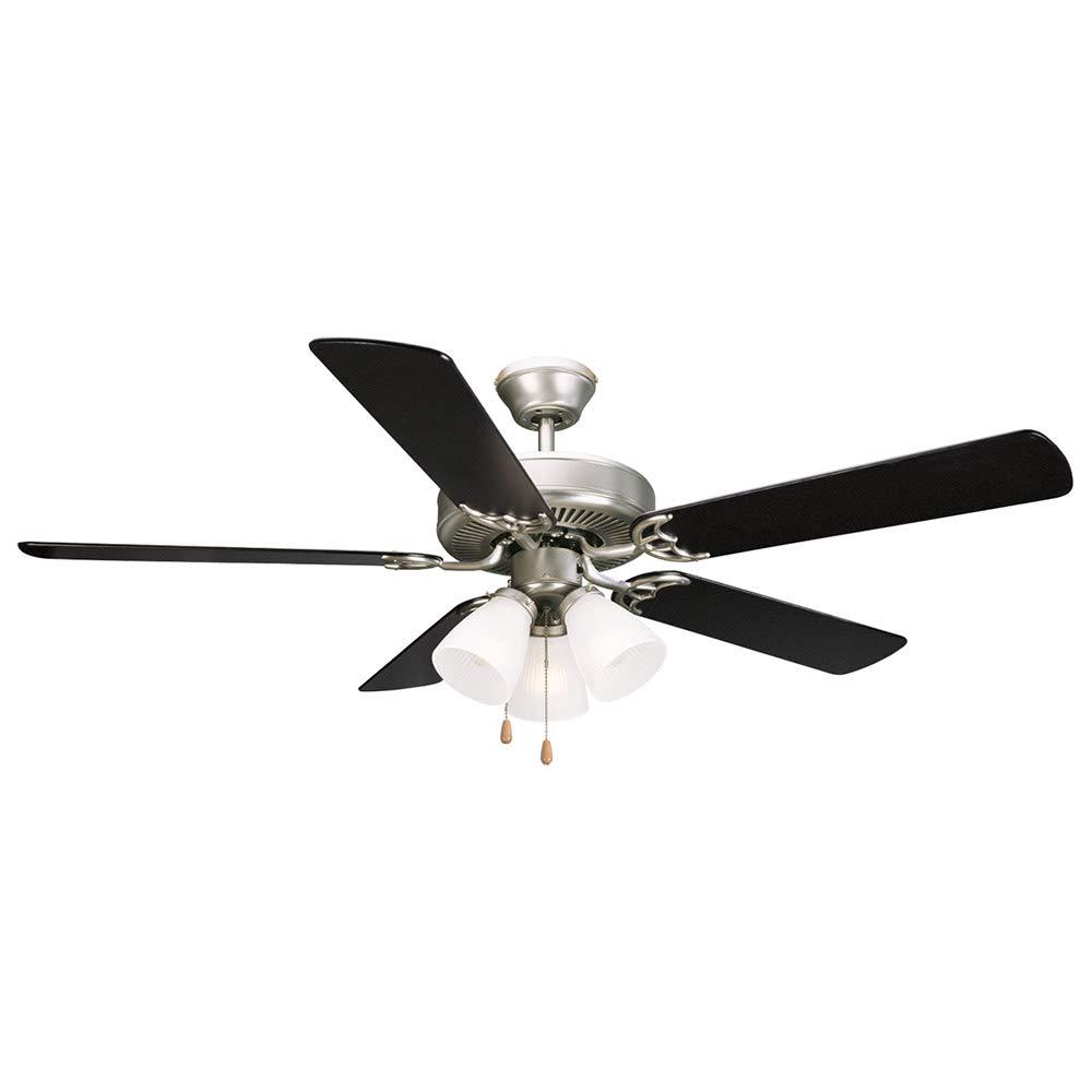 "Design House 153957 Millbridge 3 Light Ceiling Fan 52"", Satin Nickel"
