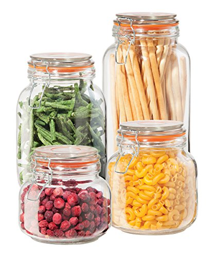 Oggi 4 Piece Airtight Glass Canister Set with Clamp Lids and Silicone Gaskets, Clear - Canister Storage Glass
