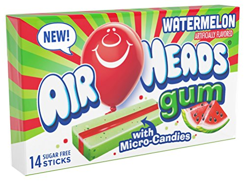 Free Gum Watermelon Sugar - AirHeads Candy Sugar-Free Chewing Gum with Xylitol, Watermelon, 14 Stick Pack (Bulk Pack of 12)
