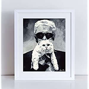 Choupette and Karl Chanel Art Print Chanel Painting Chanel Print Chanel Cat Art Karl Lagerfeld Fashion Illustration Coco Chanel Quotes Art Canvas Art Print Watercolor Art