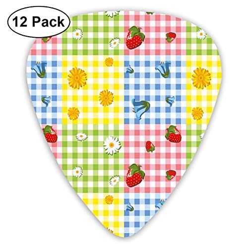 Guitar Picks - Abstract Art Colorful Designs,Colorful Pattern With Strawberries Chamomiles Bluebells And Marigold Picnic Design,Unique Guitar Gift,For Bass Electric & Acoustic Guitars-12 - Marigold Punch