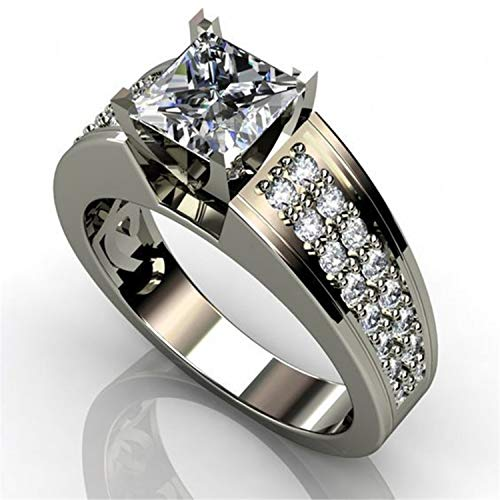 (Gold Silver Two Tone Rings Men Women Modern Jewelry Lady Accessory Ring Gift M150 9)