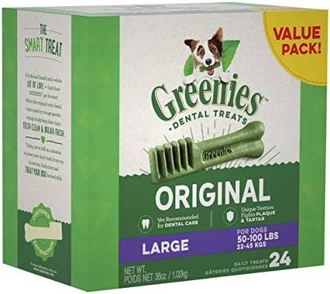 GREENIES Original Large Natural Dental Dog Treats, 36 oz. Pack (24 Treats)