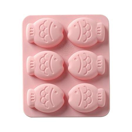 Molde de silicona para 6 bizcochos con forma de pez rosa: Amazon ...