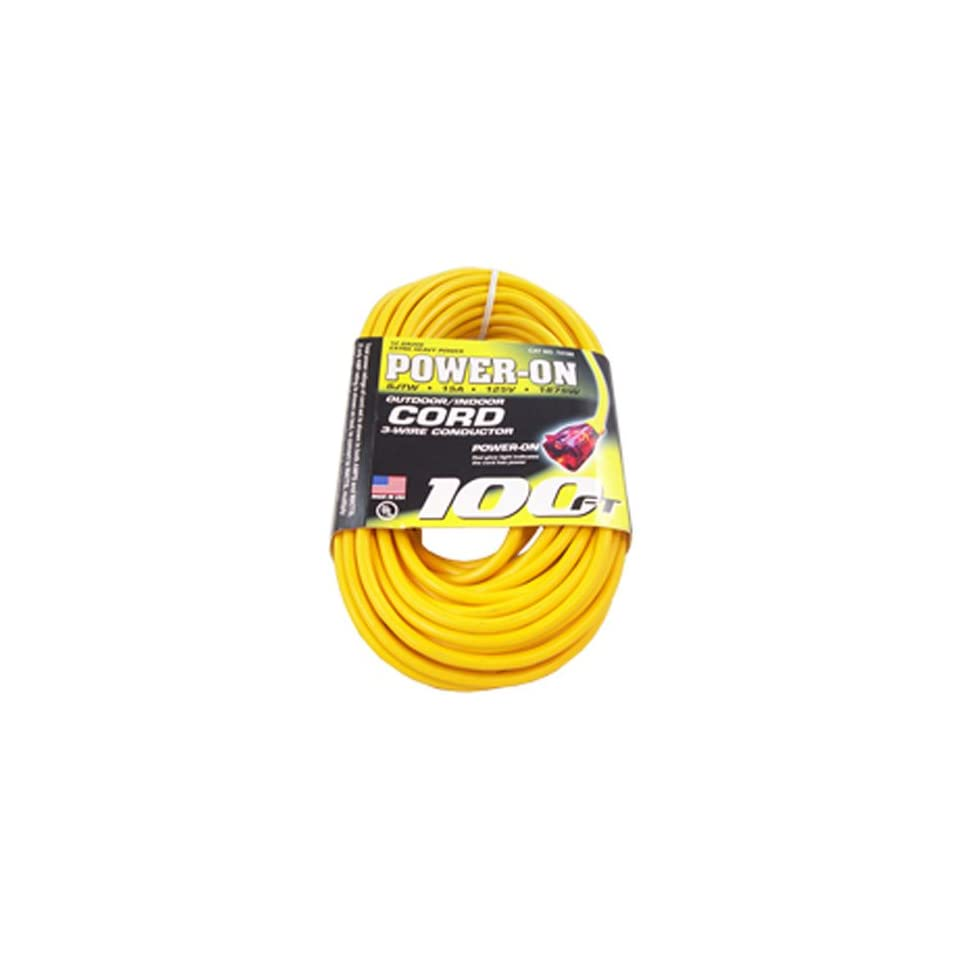 US Wire 74100 12/3 100 Feet SJTW Yellow Heavy Duty Lighted Extension Cord