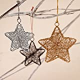 Paper High Metallic Antique Copper Stars Tree Decorations Set of 2 1 Large & 1 Small