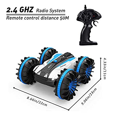 Flyglobal Remote Control Car Water and Land, 4WD Waterproof RC Car Boat Truck 2.4Ghz Double Sided Rotate 360 Degree Spinning and Flips Car Vehicles Toys for Kids Blue: Toys & Games
