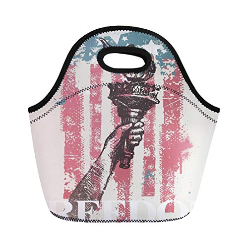 Semtomn Lunch Tote Bag Flag Abstract Usa Patriotic Drawing Hand of Freedom Torch Reusable Neoprene Insulated Thermal Outdoor Picnic Lunchbox for Men Women
