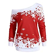 kaifongfu Christmas Shirt,Women Long Sleeve Pullover Tops with Snowflake Print