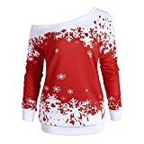 Christmas ShenPr Women's Snowflake Print Long Sleeve Off Shoulder Sweatshirt Pullovers Tops Tunic Blouse Shirt