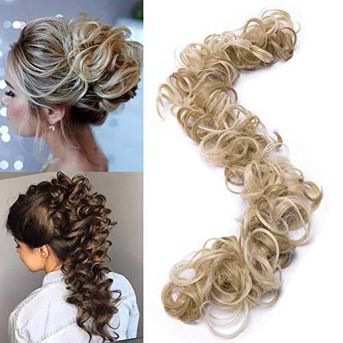 """TESS Haarteil Haargummi Dutt Ombre Ponytail Extension DIY Haarverlängerung Synthetik Haare für Haarknoten Zopf Pferdeschwanz Hair Extensions 32"""" (80cm) 85g Braun/Blond"""