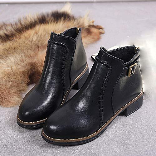 Flock Femme Plates Cuir De Sur Kaiki Neige Femme Moto Bottes Noir 43 Bottines taille 35 chaussures xq88P1n