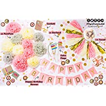 Pink and Gold Party Decorations Kit for Girls Birthday: Shiny & Matte Tassels, Fluffy Tissue Pom Poms Flower, Glitter Circle Hanging Garlands, Loose Sparkle & Transparent Table Confetti, Pastel Gold Foiled Happy Birthday Bunting Banner with a BONUS Set of Cake Topper flags - Premium Quality Supplies By PomPomGLAM
