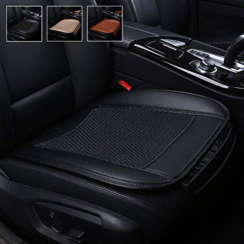 Suninbox Car Seat Covers,Ice Silk Car Seat Cushion Covers Pad Mat[carbonized Leather] Ventilated Breathable Comfortable Interior Seat Covers, Anti-Skid Four Seasons General (Black)