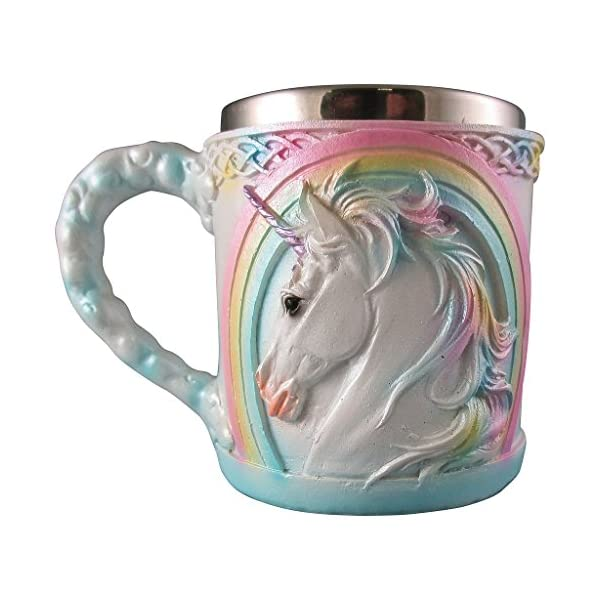 Rainbow Unicorn Coffee Mug, Cute Mythical Tea Cup, Magical Stainless Steel Fantasy Drinking Glass, Medieval Celtic Knot… 4