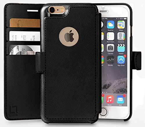 iPhone 6, 6s Wallet Case | Durable and Slim | Lightweight with Classic Design & Ultra-Strong Magnetic Closure | Faux Leather |Black |Apple 6/6s (4.7 in)
