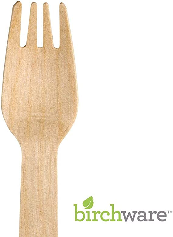 100 x Quality Disposable WOODEN FORKS Pack CUTLERY Celebration Party Occasion