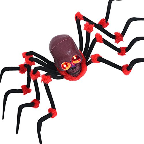 Movable Large Skull Spider 49'' With LED Eyes Flexible Halloween Outdoor Spider Prop Decorations (Red)