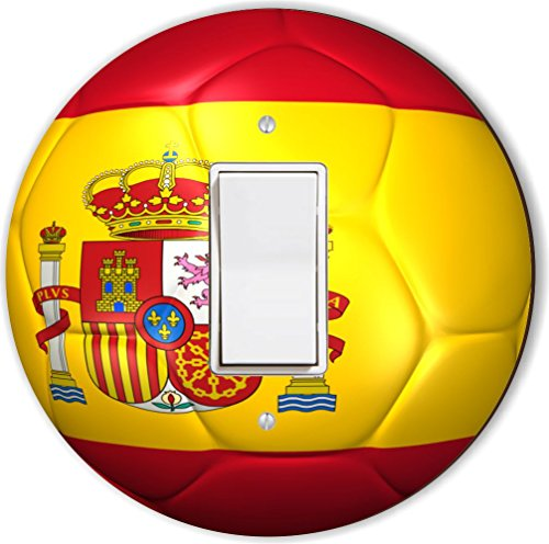 Rikki Knight RND-LSPROCK-67 Spain Team World Cup Flag Soccer Ball Football Round Single Rocker Light Switch Plate by Rikki Knight