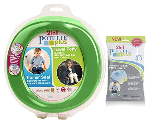 (Green Potette Plus Port-a-potty Training Potty Travel Toilet Seat - 2 in 1 Bundle with Potette Plus Liners - 30 Liners by Kalencom)