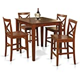 East West Furniture PUBS5-BRN-W 5-Piece Counter Height Dining Table Set, Brown Review