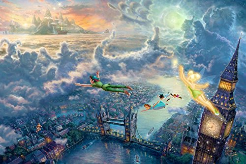 makeuseof Peter Pan Tinkerbell London bridge Big Ben Art Poster Art Wall Pictures for Living Room Canvas fabric cloth (Peter Pan Tinkerbell Pictures)