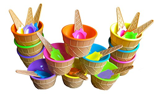 BonBon Vibrant Colors Ice Cream Dessert Bowls and Spoons (12) (Dishes Cone Cream Ice)