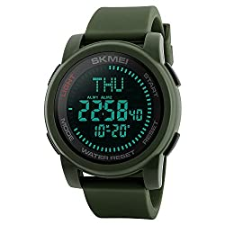 Multifunction Neutral Compass Sport Watch, Farsler 50M Waterproof World Time Men's Electronic Watch, Alarm Clock Countdown Luminous Digital Sports Watch For Women Boys (Army Green)