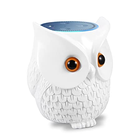 Echo Dot Case, Owl Statue Echo Dot Holder for Echo Dot 2nd and 1st Generation, Cartoon Decor Echo Dot Holder Skin Cover Table Stand