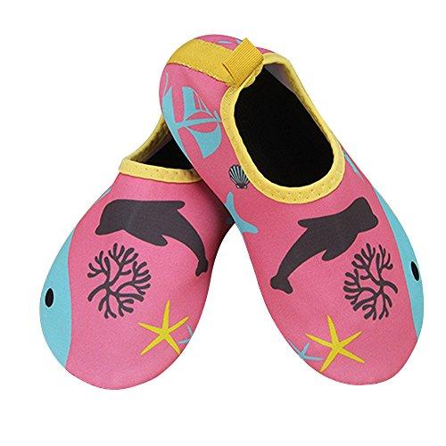 JACKSHIBO Männer Frauen und Kinder Quick-Dry Wasser Haut Schuhe Aqua Socken Für Wassersport Schwimmen Surf Yoga Exercise Beach Delphin