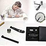 The Most Versatile Magcon Tool Design Drawing Curved Metallic Ruler Mini Compass Protractor Combo Patterns for Notepad Designers Artists Architects Student