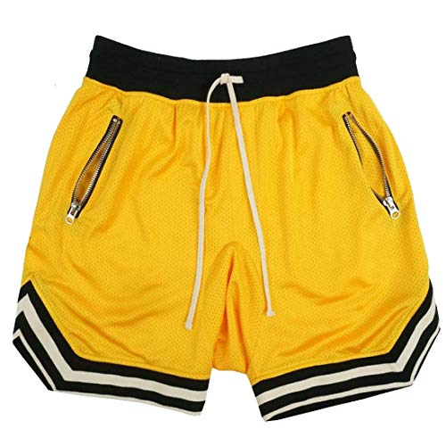 PAIZH Mens Lightweight Basketball Shorts Breathable Running Mesh Short with Zip (Yellow,L)